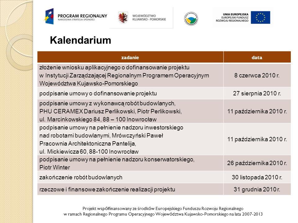 Projekt wsp ó łfinansowany ze środk ó w Europejskiego Funduszu Rozwoju Regionalnego w ramach Regionalnego Programu Operacyjnego Wojew ó dztwa Kujawsko-Pomorskiego na lata 2007-2013 Kalendarium zadaniedata złożenie wniosku aplikacyjnego o dofinansowanie projektu w Instytucji Zarządzającej Regionalnym Programem Operacyjnym Województwa Kujawsko-Pomorskiego 8 czerwca 2010 r.