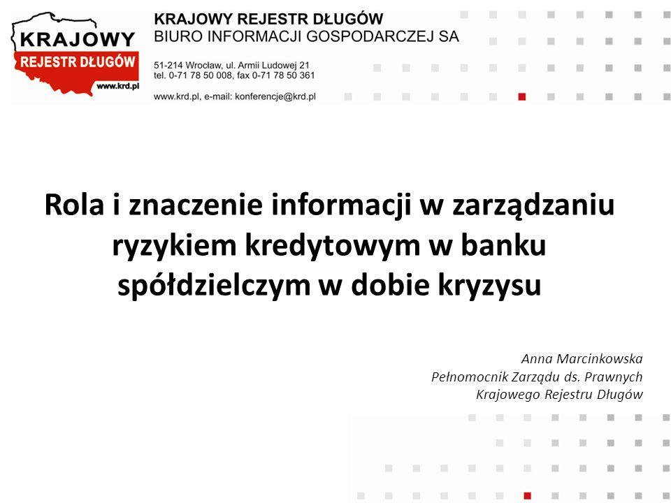 Rola i znaczenie informacji w zarządzaniu ryzykiem kredytowym w banku spółdzielczym w dobie kryzysu Anna Marcinkowska Pełnomocnik Zarządu ds. Prawnych