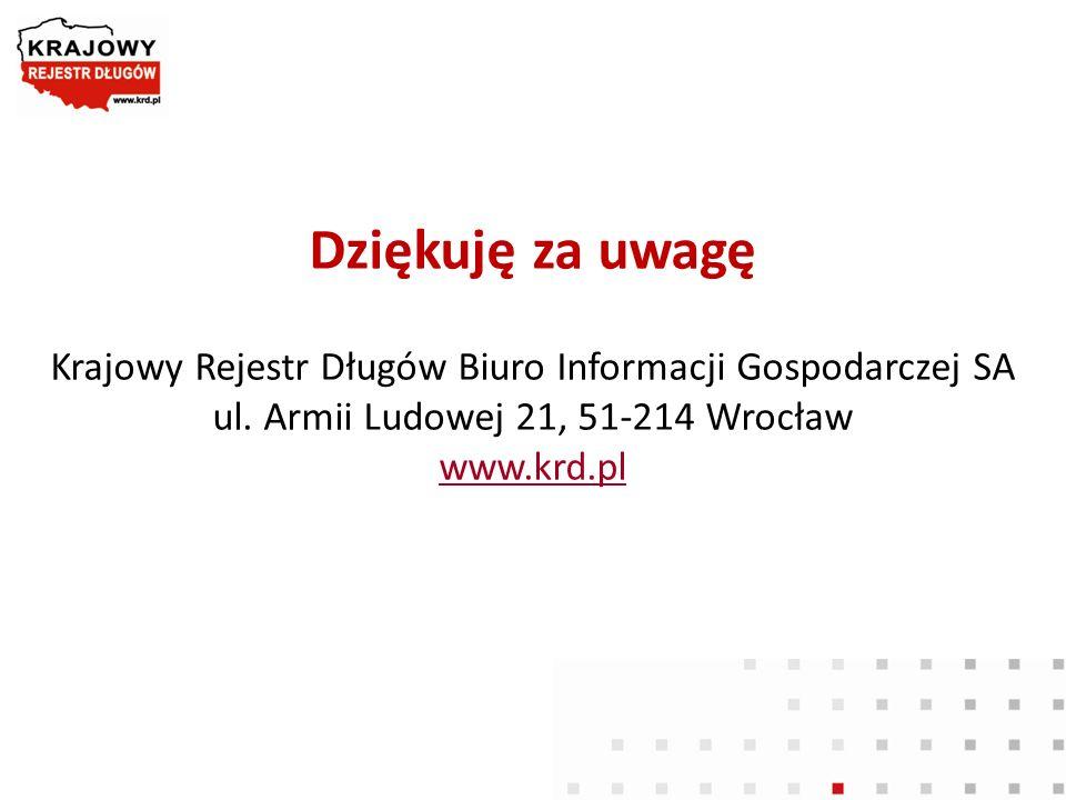 Dziękuję za uwagę Krajowy Rejestr Długów Biuro Informacji Gospodarczej SA ul. Armii Ludowej 21, 51-214 Wrocław www.krd.pl