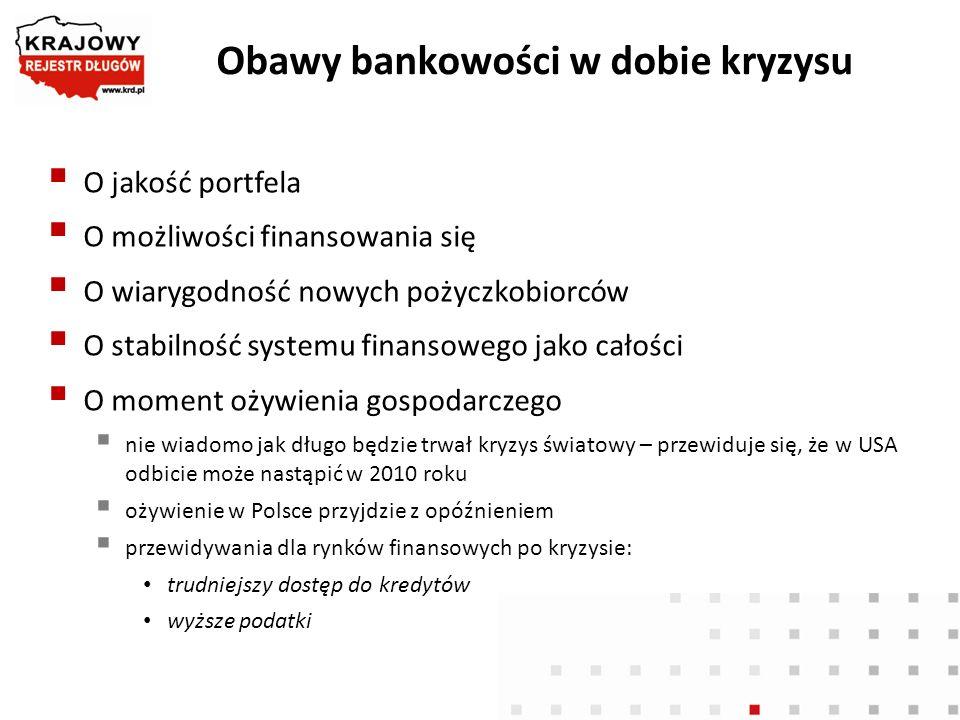 Obawy bankowości w dobie kryzysu O jakość portfela O możliwości finansowania się O wiarygodność nowych pożyczkobiorców O stabilność systemu finansoweg