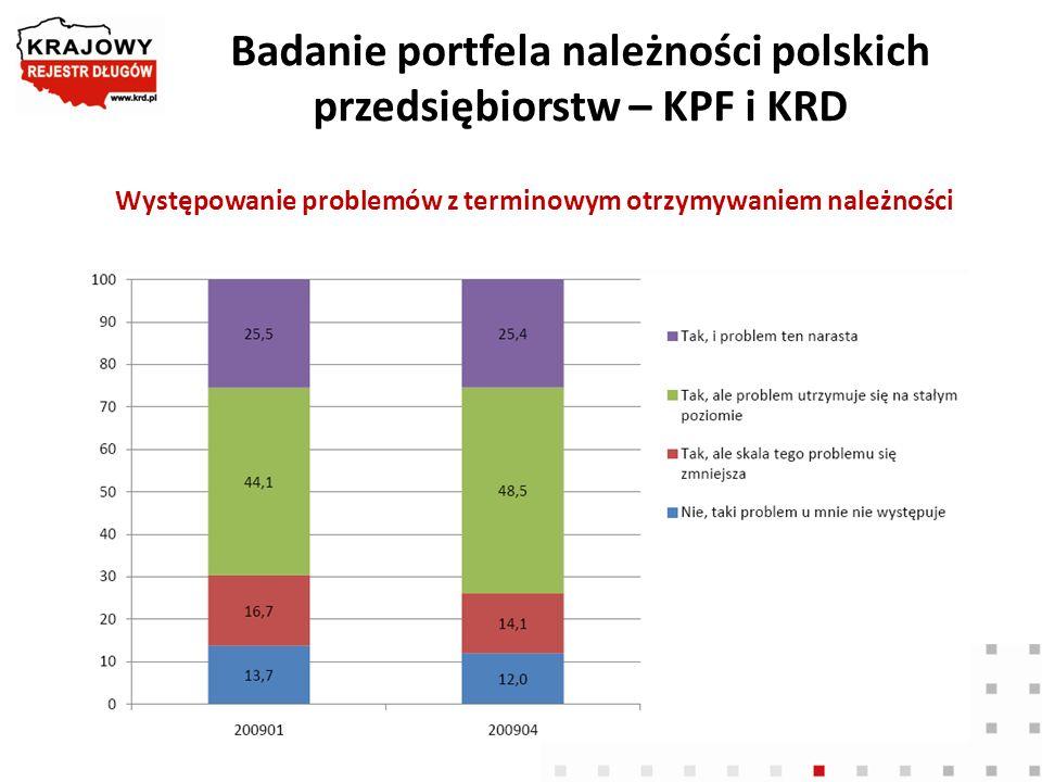 Badanie portfela należności polskich przedsiębiorstw – KPF i KRD Występowanie problemów z terminowym otrzymywaniem należności