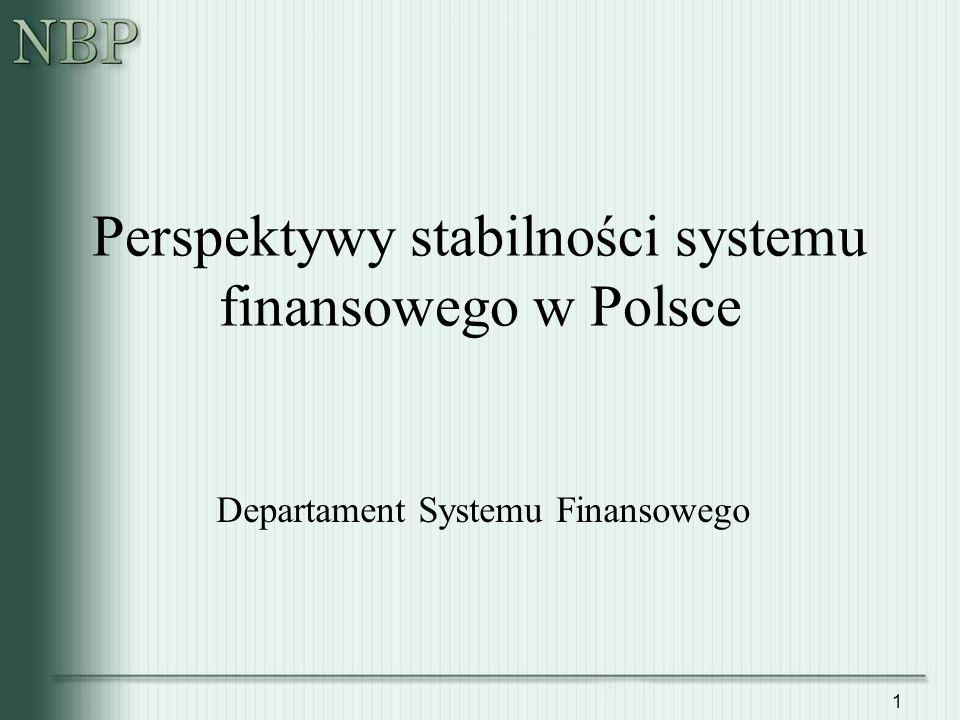 1 Perspektywy stabilności systemu finansowego w Polsce Departament Systemu Finansowego