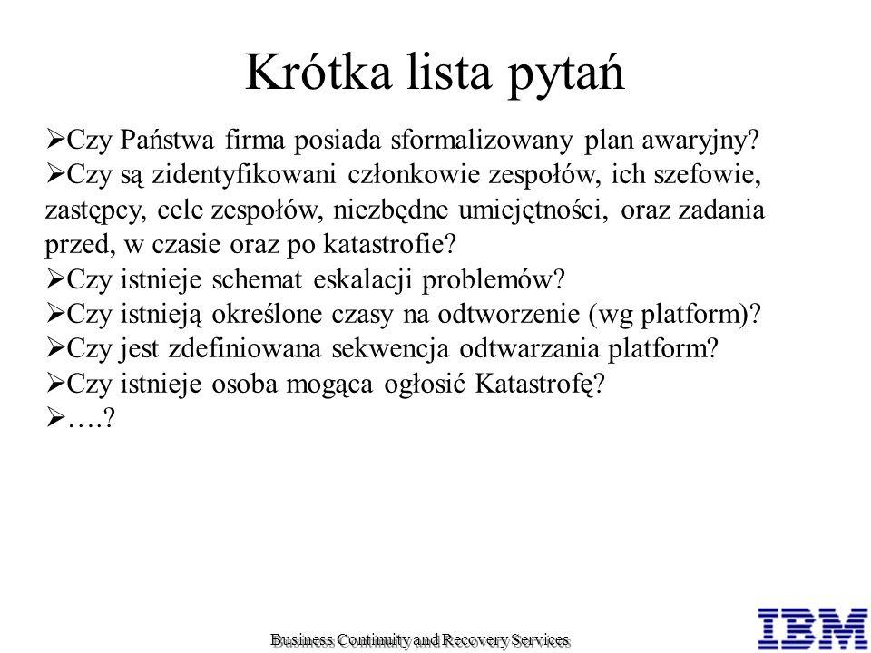 Krótka lista pytań Czy Państwa firma posiada sformalizowany plan awaryjny? Czy są zidentyfikowani członkowie zespołów, ich szefowie, zastępcy, cele ze