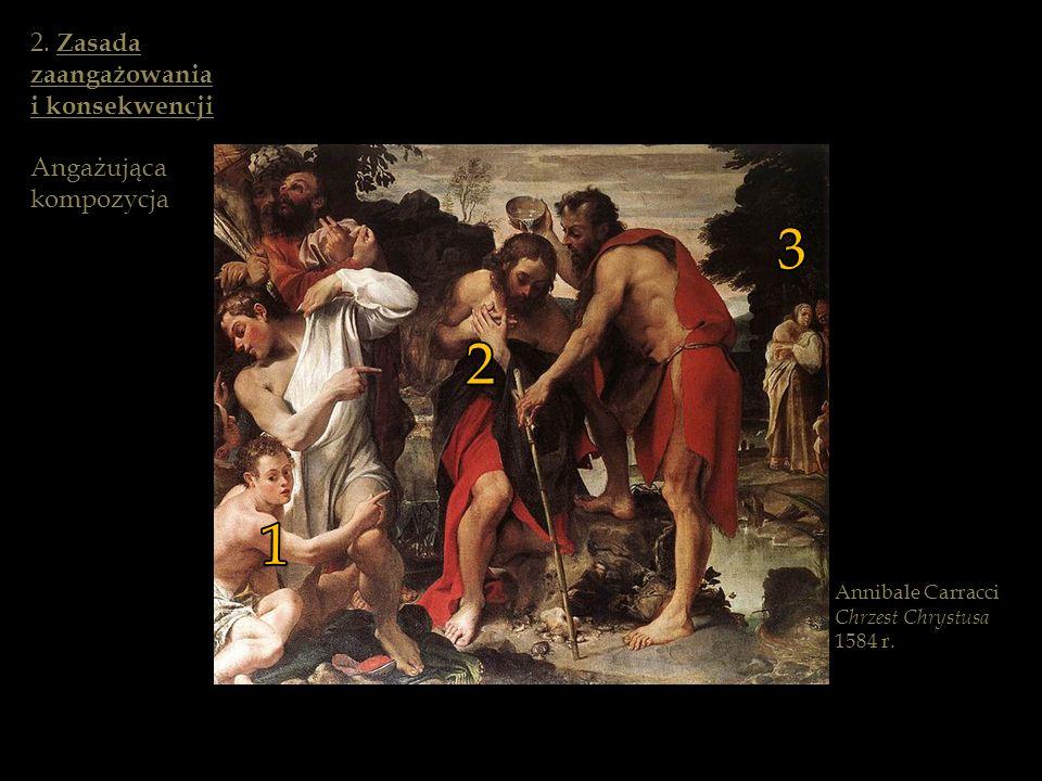 Annibale Carracci Chrzest Chrystusa 1584 r. 1 2 3 2. Zasada zaangażowania i konsekwencji Angażująca kompozycja