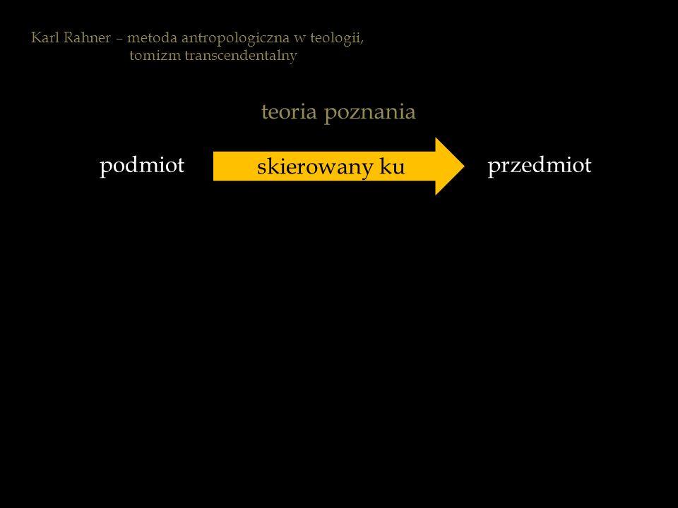 podmiotprzedmiot skierowany ku teoria poznania Karl Rahner – metoda antropologiczna w teologii, tomizm transcendentalny