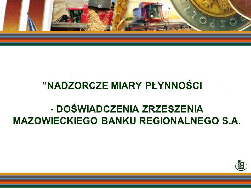 NADZORCZE MIARY PŁYNNOŚCI - DOŚWIADCZENIA ZRZESZENIA MAZOWIECKIEGO BANKU REGIONALNEGO S.A.