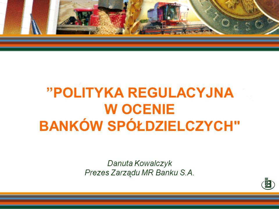 POLITYKA REGULACYJNA W OCENIE BANKÓW SPÓŁDZIELCZYCH