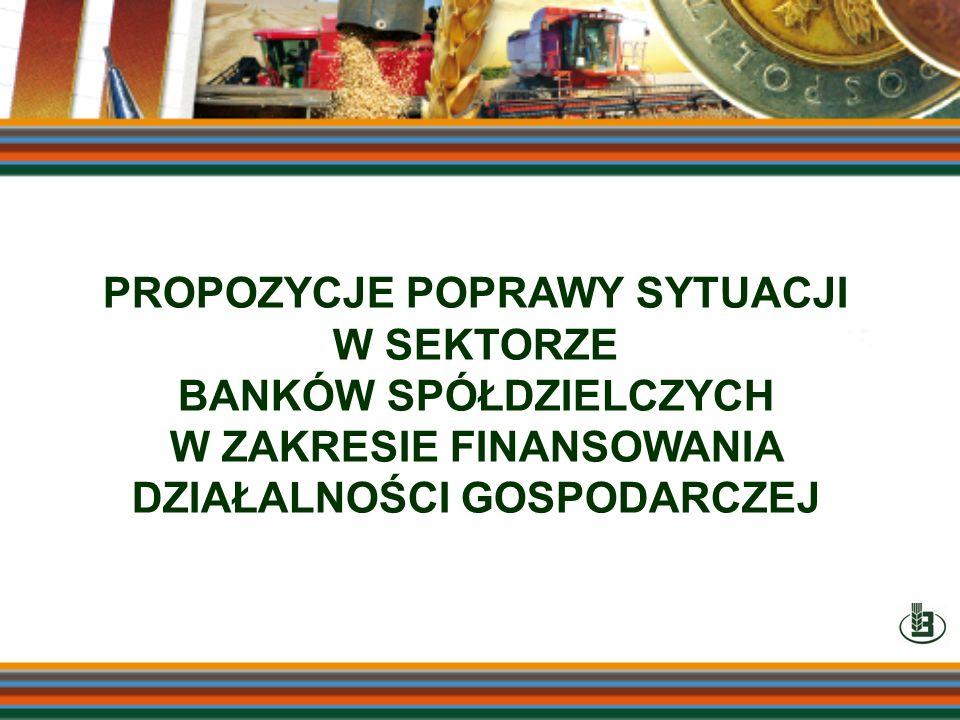 PROPOZYCJE POPRAWY SYTUACJI W SEKTORZE BANKÓW SPÓŁDZIELCZYCH W ZAKRESIE FINANSOWANIA DZIAŁALNOŚCI GOSPODARCZEJ