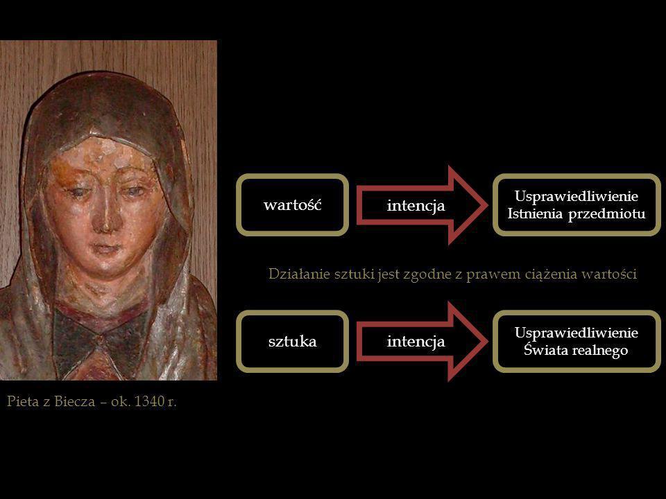 Pieta z Biecza – ok. 1340 r. wartość intencja Usprawiedliwienie Istnienia przedmiotu Działanie sztuki jest zgodne z prawem ciążenia wartości sztuka in