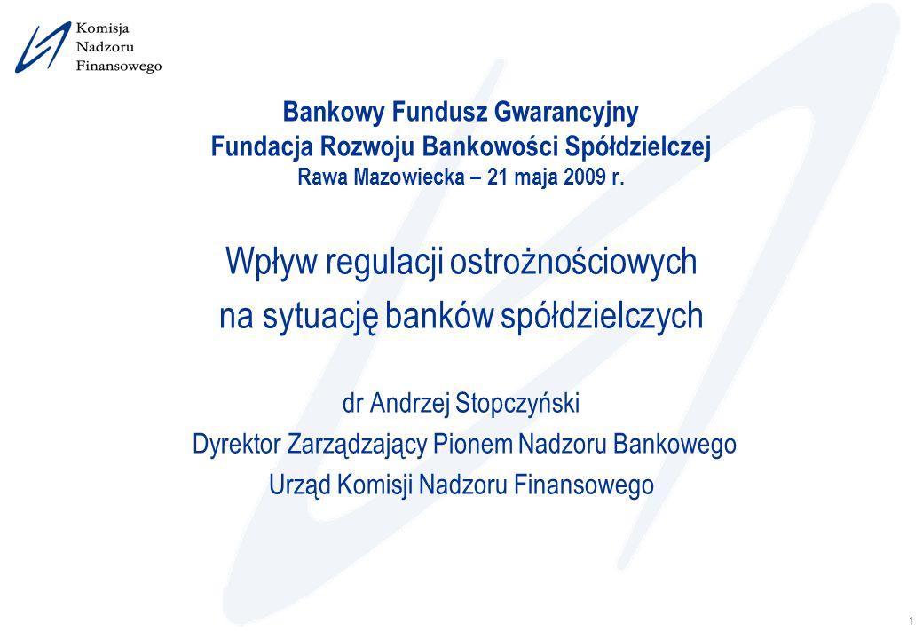 1 Bankowy Fundusz Gwarancyjny Fundacja Rozwoju Bankowości Spółdzielczej Rawa Mazowiecka – 21 maja 2009 r. Wpływ regulacji ostrożnościowych na sytuację