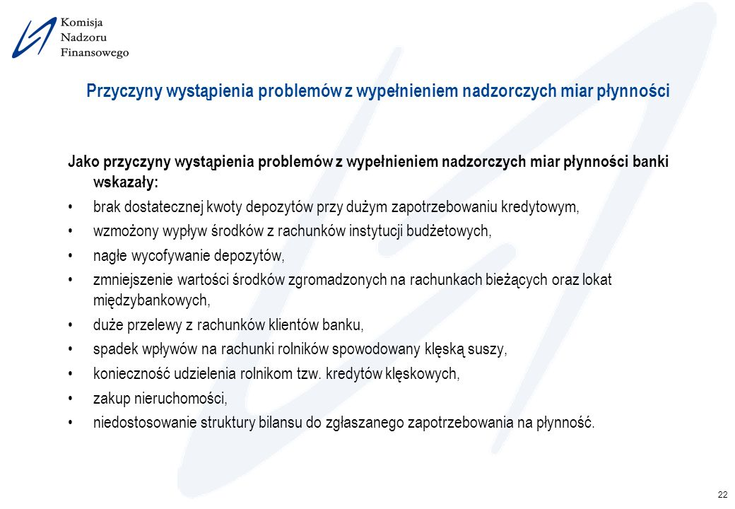 22 Przyczyny wystąpienia problemów z wypełnieniem nadzorczych miar płynności Jako przyczyny wystąpienia problemów z wypełnieniem nadzorczych miar płyn