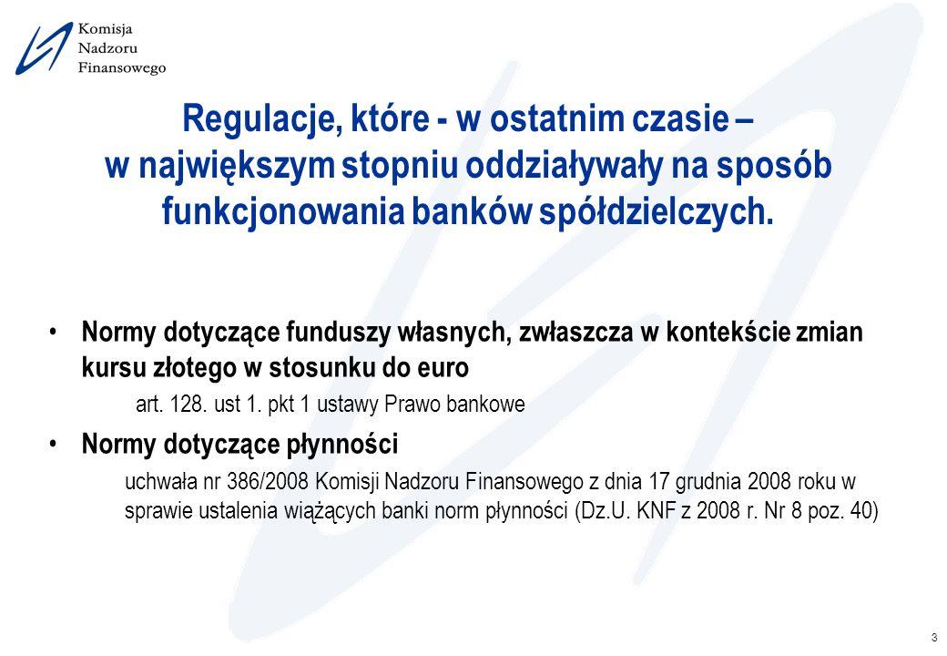 3 Regulacje, które - w ostatnim czasie – w największym stopniu oddziaływały na sposób funkcjonowania banków spółdzielczych. Normy dotyczące funduszy w