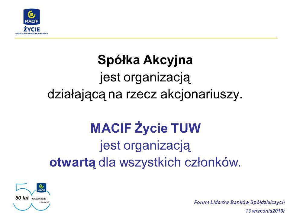 Spółka Akcyjna jest organizacją działającą na rzecz akcjonariuszy. MACIF Życie TUW jest organizacją otwartą dla wszystkich członków. Forum Liderów Ban