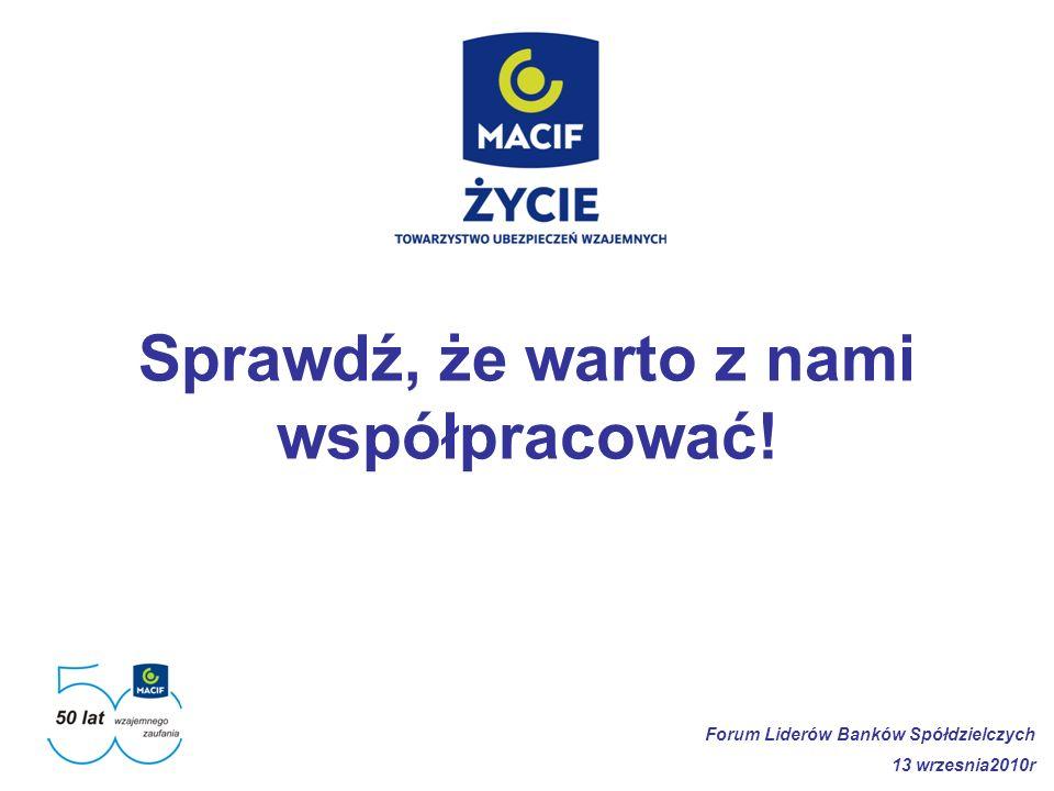 Sprawdź, że warto z nami współpracować! Forum Liderów Banków Spółdzielczych 13 wrzesnia2010r