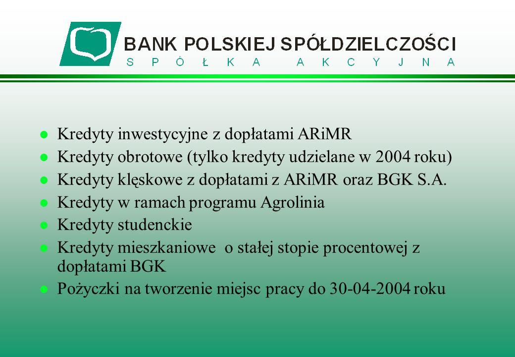 l Kredyty inwestycyjne z dopłatami ARiMR l Kredyty obrotowe (tylko kredyty udzielane w 2004 roku) l Kredyty klęskowe z dopłatami z ARiMR oraz BGK S.A.