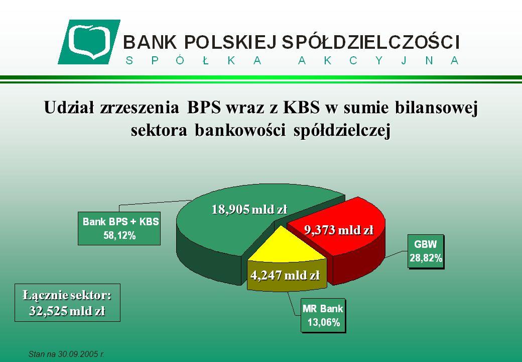 Stan na 30.09.2005 r. Udział zrzeszenia BPS wraz z KBS w sumie bilansowej sektora bankowości spółdzielczej Łącznie sektor: 32,525 mld zł 18,905 mld zł