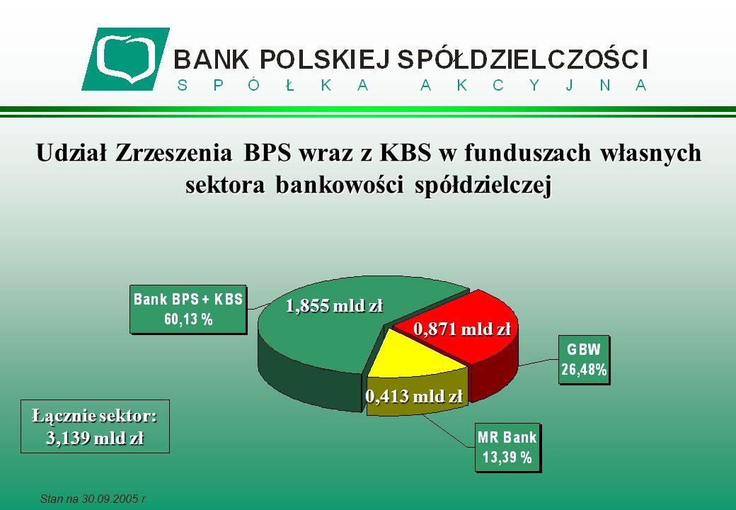 Udział Zrzeszenia BPS wraz z KBS w funduszach własnych sektora bankowości spółdzielczej Stan na 30.09.2005 r. Łącznie sektor: 3,139 mld zł 1,855 mld z