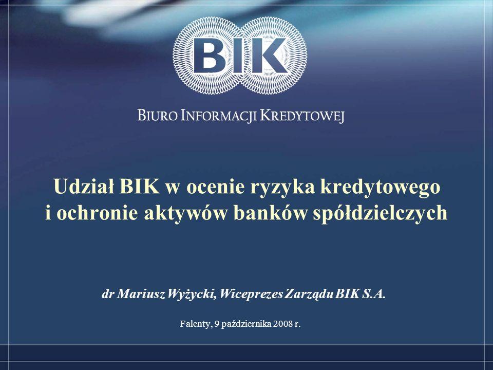 Udział BIK w ocenie ryzyka kredytowego i ochronie aktywów banków spółdzielczych Falenty, 9 października 2008 r.