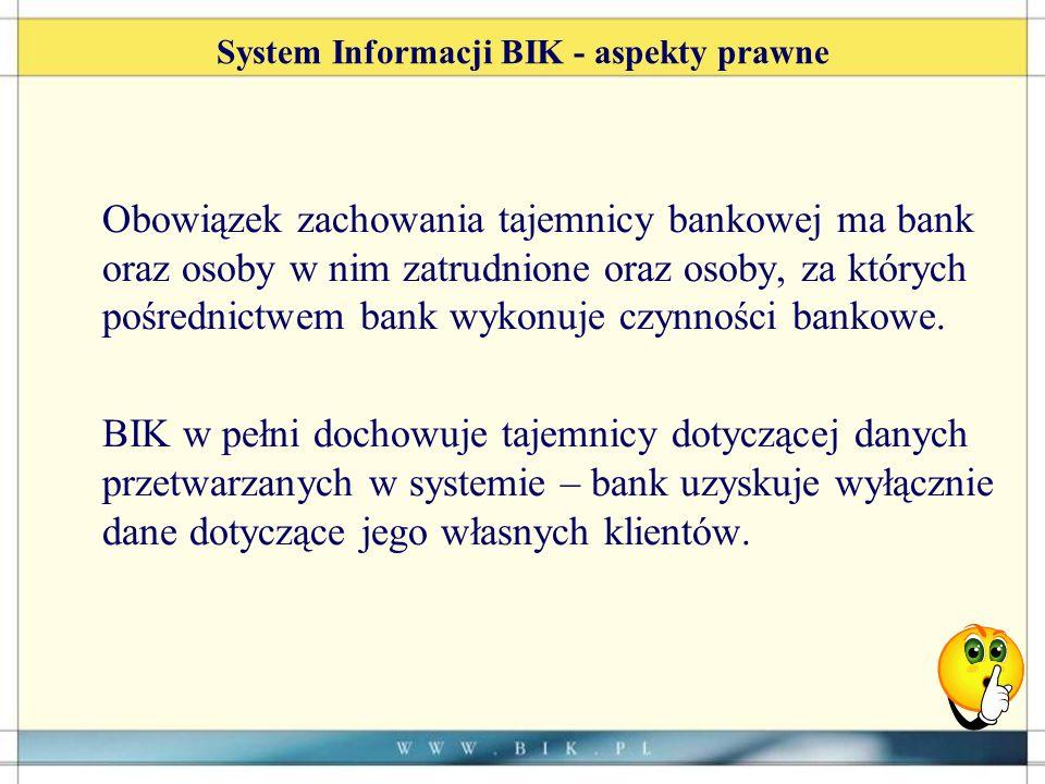 System Informacji BIK - aspekty prawne Obowiązek zachowania tajemnicy bankowej ma bank oraz osoby w nim zatrudnione oraz osoby, za których pośrednictwem bank wykonuje czynności bankowe.