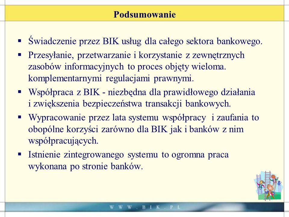 Podsumowanie Świadczenie przez BIK usług dla całego sektora bankowego.