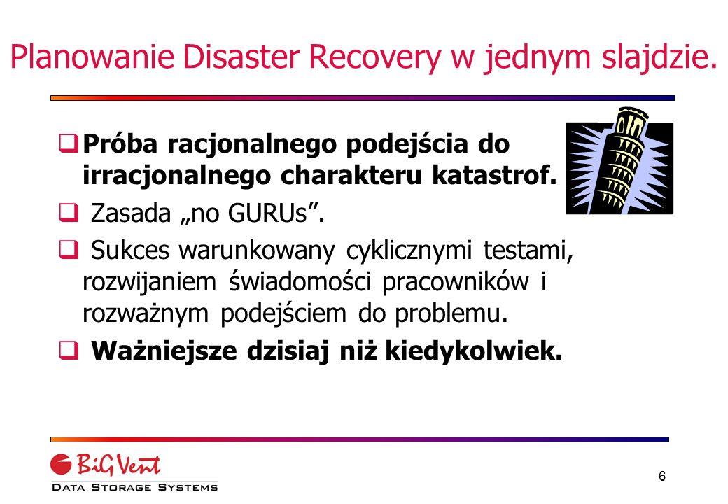 16 3 punkty DR warte zapamiętania Musimy wiedzieć jak będziemy się komunikować z Pracownikami Klientami Innymi oddziałami firmy Plany powinny być precyzyjne, przenośne, definiujące działania mające na celu przywrócenie poszczególnych systemów mission-critical, w odpowiedniej kolejności Procedury Disaster Recovery MUSZĄ BYĆ CYKLICZNIE TESTOWANE przez ludzi którzy mają ich używać