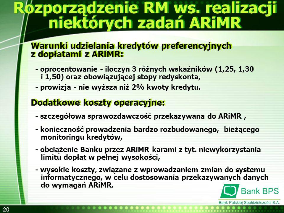 20 Rozporządzenie RM ws. realizacji niektórych zadań ARiMR Warunki udzielania kredytów preferencyjnych z dopłatami z ARiMR: Warunki udzielania kredytó