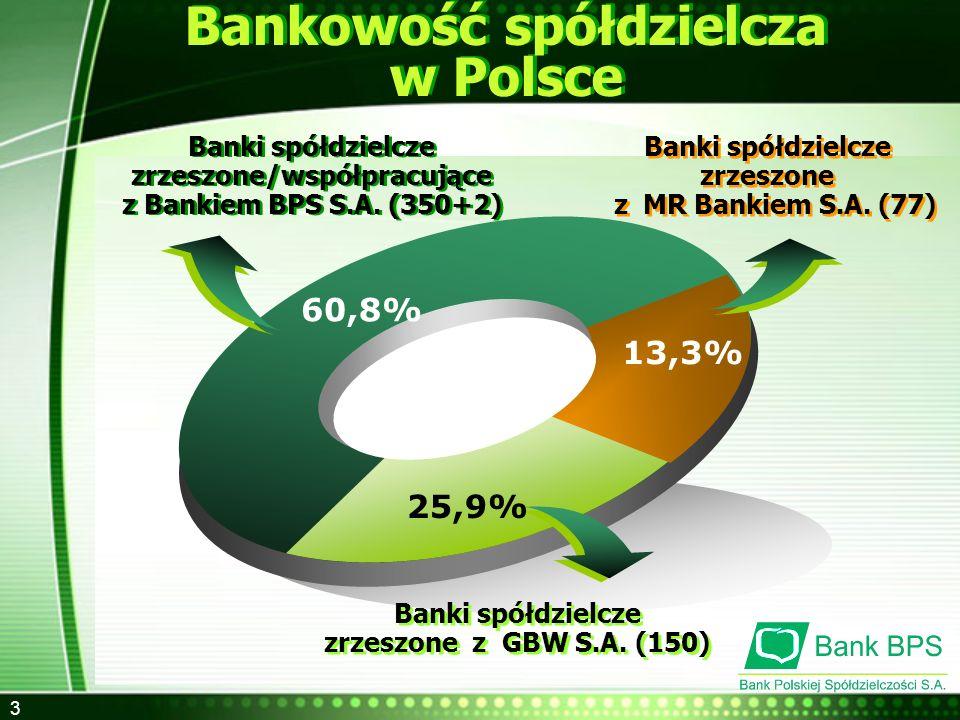 4 Udział Banków Spółdzielczych w sektorze bankowym ogółem Udział kapitału zagranicznego: - w bankach komercyjnych 70% - w bankach spółdzielczych 0 %