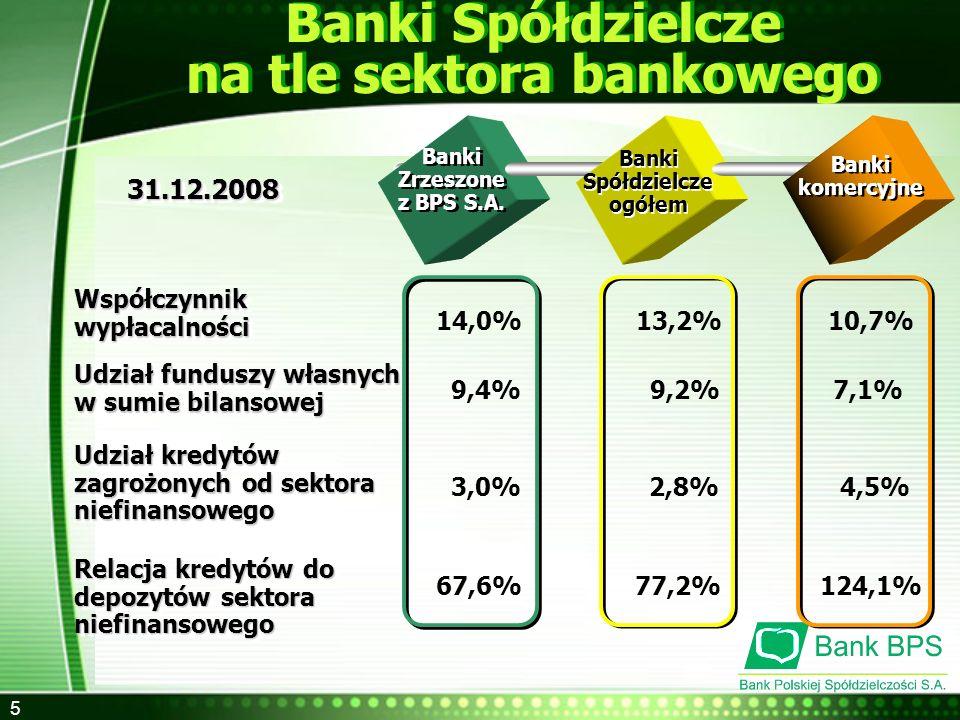 5 Współczynnik wypłacalności Banki Spółdzielcze na tle sektora bankowego Banki Spółdzielcze na tle sektora bankowego Udział funduszy własnych w sumie