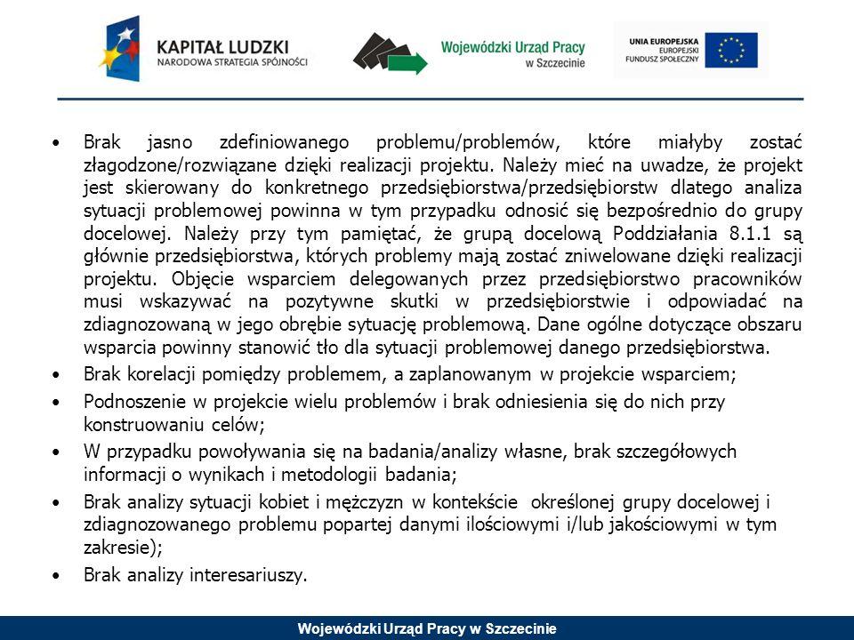 Wojewódzki Urząd Pracy w Szczecinie Brak jasno zdefiniowanego problemu/problemów, które miałyby zostać złagodzone/rozwiązane dzięki realizacji projektu.
