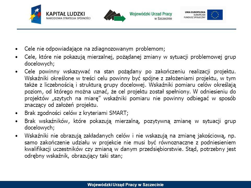 Wojewódzki Urząd Pracy w Szczecinie Cele nie odpowiadające na zdiagnozowanym problemom; Cele, które nie pokazują mierzalnej, pożądanej zmiany w sytuacji problemowej grup docelowych; Cele powinny wskazywać na stan pożądany po zakończeniu realizacji projektu.