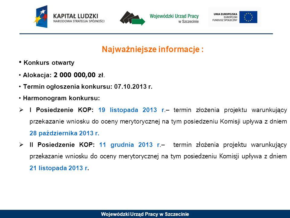 Wojewódzki Urząd Pracy w Szczecinie Najważniejsze informacje : Konkurs otwarty Alokacja: 2 000 000,00 zł.