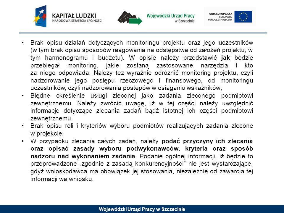 Wojewódzki Urząd Pracy w Szczecinie Brak opisu działań dotyczących monitoringu projektu oraz jego uczestników (w tym brak opisu sposobów reagowania na odstępstwa od założeń projektu, w tym harmonogramu i budżetu).