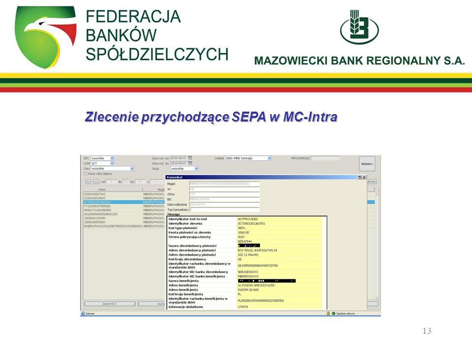 13 Zlecenie przychodzące SEPA w MC-Intra
