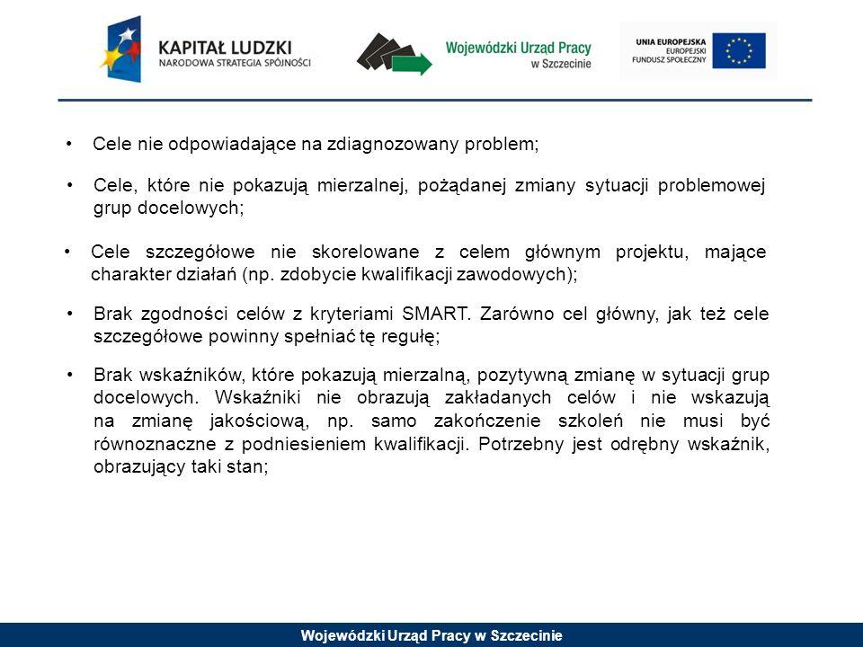 Wojewódzki Urząd Pracy w Szczecinie Cele nie odpowiadające na zdiagnozowany problem; Cele, które nie pokazują mierzalnej, pożądanej zmiany sytuacji problemowej grup docelowych; Cele szczegółowe nie skorelowane z celem głównym projektu, mające charakter działań (np.