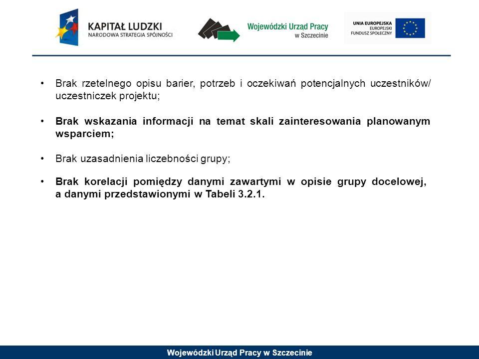 Wojewódzki Urząd Pracy w Szczecinie Brak uzasadnienia liczebności grupy; Brak korelacji pomiędzy danymi zawartymi w opisie grupy docelowej, a danymi przedstawionymi w Tabeli 3.2.1.