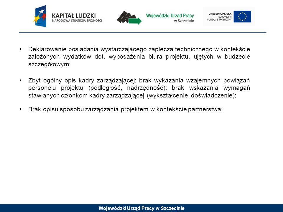 Wojewódzki Urząd Pracy w Szczecinie Deklarowanie posiadania wystarczającego zaplecza technicznego w kontekście założonych wydatków dot.