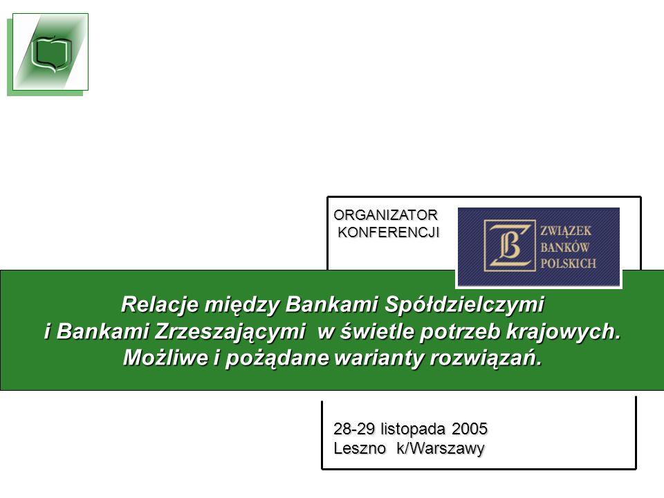 ORGANIZATOR KONFERENCJI KONFERENCJI 28-29 listopada 2005 Leszno k/Warszawy Relacje między Bankami Spółdzielczymi i Bankami Zrzeszającymi w świetle potrzeb krajowych.