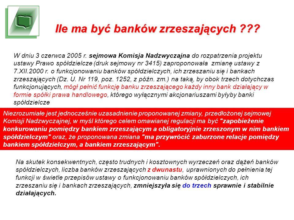 Ile ma być banków zrzeszających ??. W dniu 3 czerwca 2005 r.