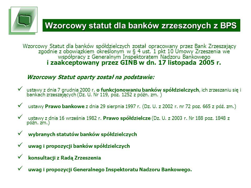 Wzorcowy Statut dla banków spółdzielczych został opracowany przez Bank Zrzeszający zgodnie z obowiązkiem określonym w § 4 ust.