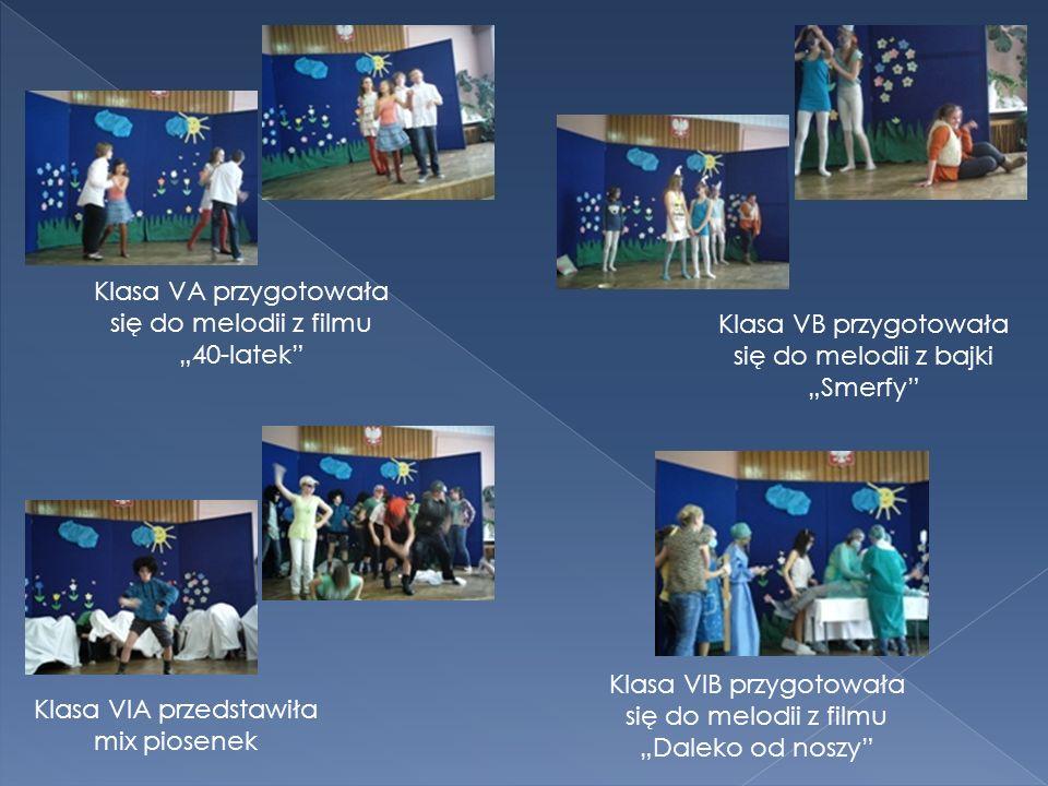 Klasa VA przygotowała się do melodii z filmu 40-latek Klasa VIA przedstawiła mix piosenek Klasa VB przygotowała się do melodii z bajki Smerfy Klasa VIB przygotowała się do melodii z filmu Daleko od noszy