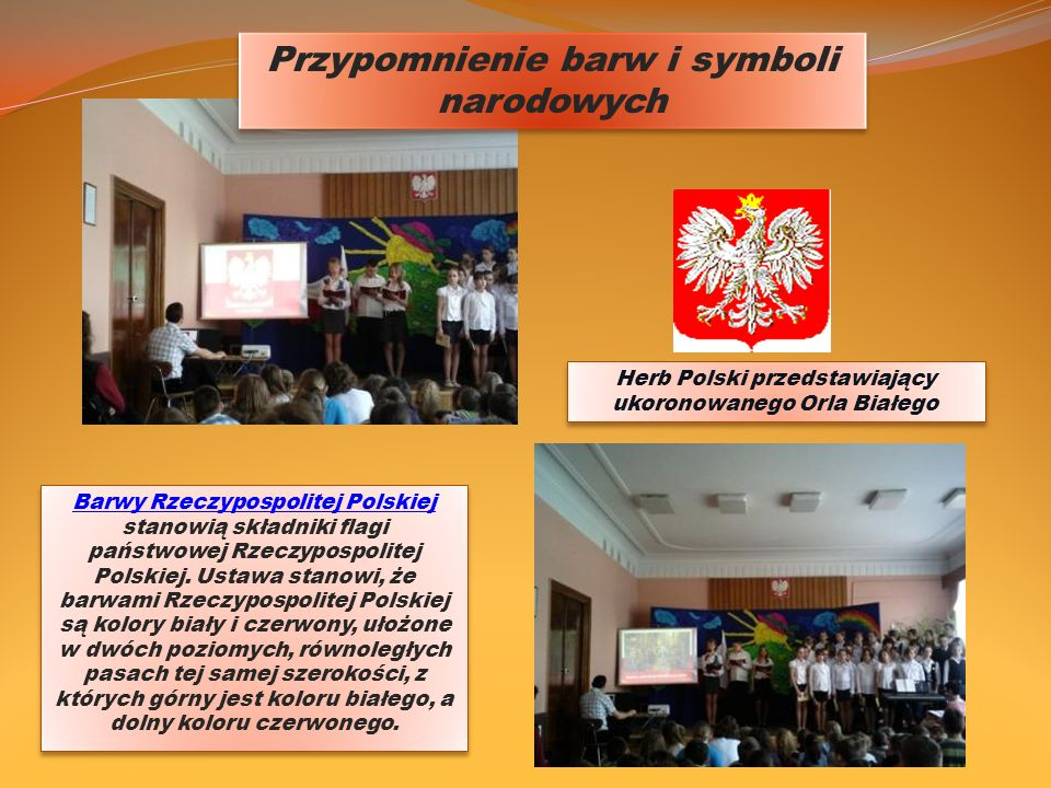 Przypomnienie barw i symboli narodowych Barwy Rzeczypospolitej Polskiej Barwy Rzeczypospolitej Polskiej stanowią składniki flagi państwowej Rzeczyposp