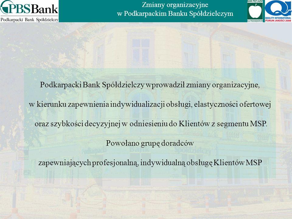 Bank działa na Podkarpaciu. Obecnie posiada 17 Oddziałów, 1 Oddział Operacyjny 32 Filie, 22 Punkty Obsługi Klienta oraz 4 Agencje PBS (w tym 3 czynne