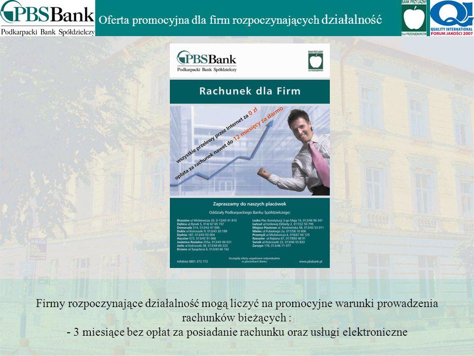 Oferta dla Klientów MSP Rachunek bieżący Bankowość elektroniczna Karty płatnicze Visa Businnes i Visa Businnes Electron Kredyty obrotowe, inwestycyjne