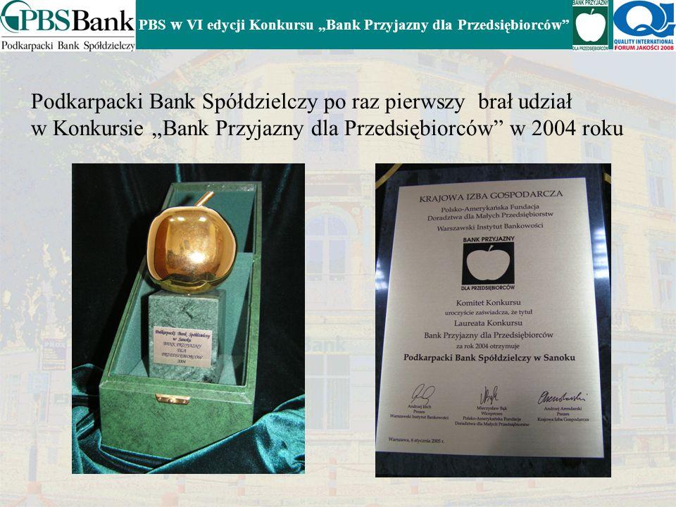 PBS w VI edycji Konkursu Bank Przyjazny dla Przedsiębiorców Podkarpacki Bank Spółdzielczy po raz pierwszy brał udział w Konkursie Bank Przyjazny dla Przedsiębiorców w 2004 roku