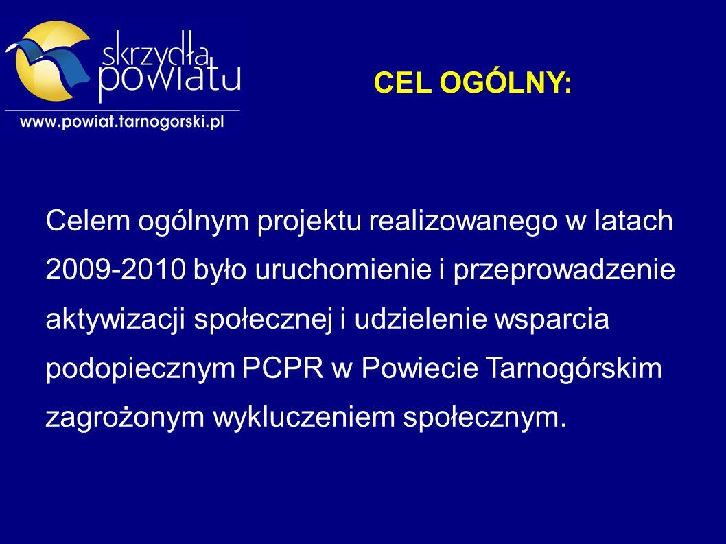 CEL OGÓLNY: Celem ogólnym projektu realizowanego w latach 2009-2010 było uruchomienie i przeprowadzenie aktywizacji społecznej i udzielenie wsparcia podopiecznym PCPR w Powiecie Tarnogórskim zagrożonym wykluczeniem społecznym.