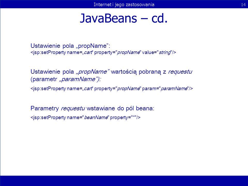 Internet i jego zastosowania 14 JavaBeans – cd. Ustawienie pola propName: Ustawienie pola propName wartością pobraną z requestu (parametr paramName):