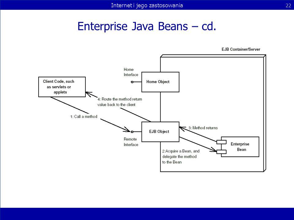 Internet i jego zastosowania 22 Enterprise Java Beans – cd.