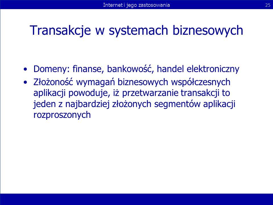 Internet i jego zastosowania 25 Transakcje w systemach biznesowych Domeny: finanse, bankowość, handel elektroniczny Złożoność wymagań biznesowych wspó
