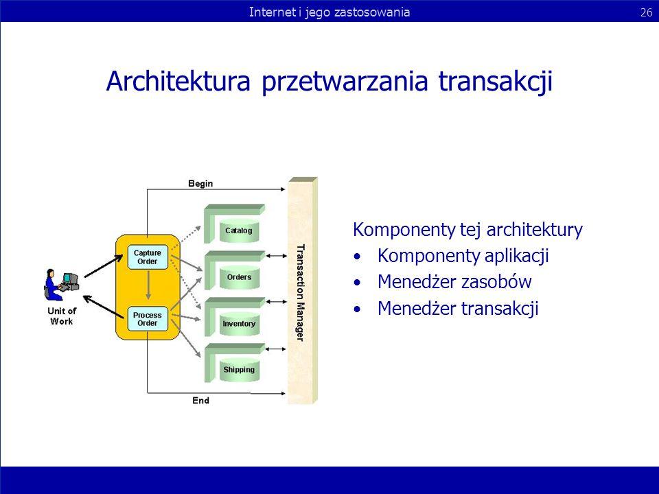 Internet i jego zastosowania 26 Architektura przetwarzania transakcji Komponenty tej architektury Komponenty aplikacji Menedżer zasobów Menedżer trans