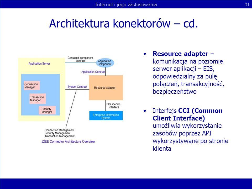 Internet i jego zastosowania 31 Architektura konektorów – cd. Resource adapter – komunikacja na poziomie serwer aplikacji – EIS, odpowiedzialny za pul